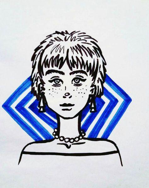 More on IG: @maggie_creates_  marker doodle short hair cute blue black
