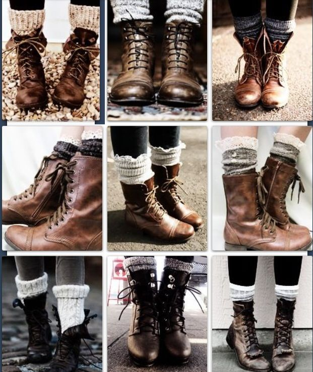 Love the socks and combat boot look: Legs Warmers, Combat Boots Look, Lace