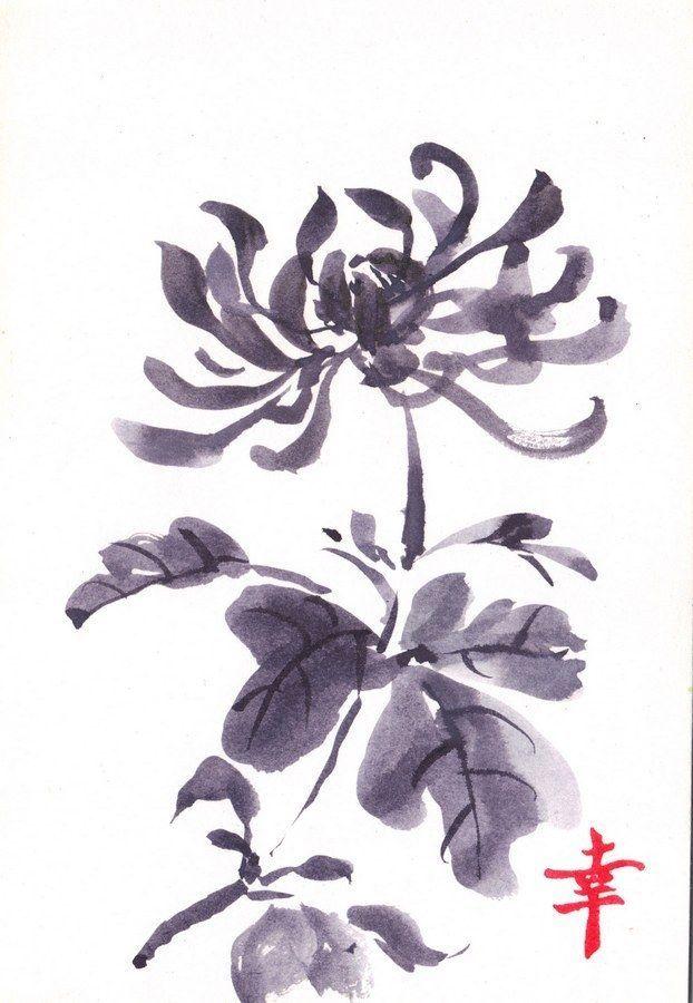 CHRYSANTHEMUM, Original painting by Akimova, flower,black&white,ink #Realism