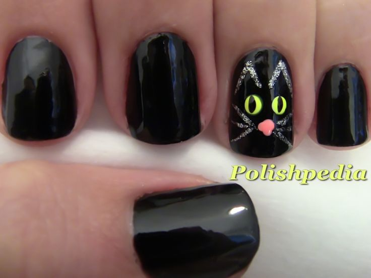 polish pedia nail designs | love doing cat nail designs and this black cat nail design is ...