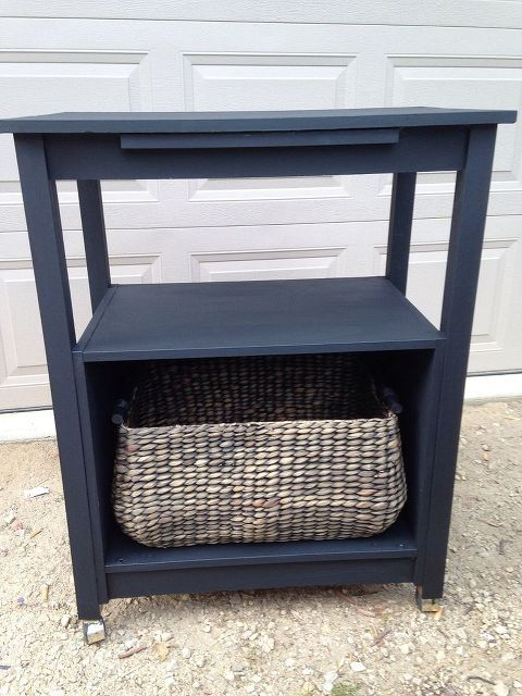 painted furniture microwave cart makeover, painted furniture, repurposing upcycling, After