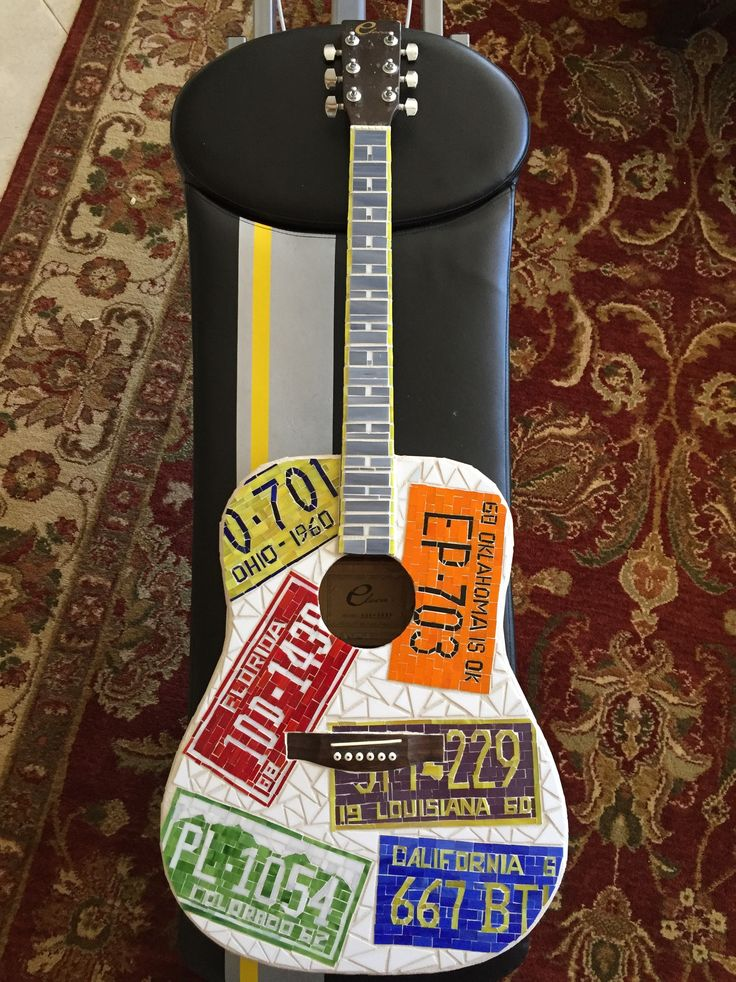 Stained glass guitar mosaic