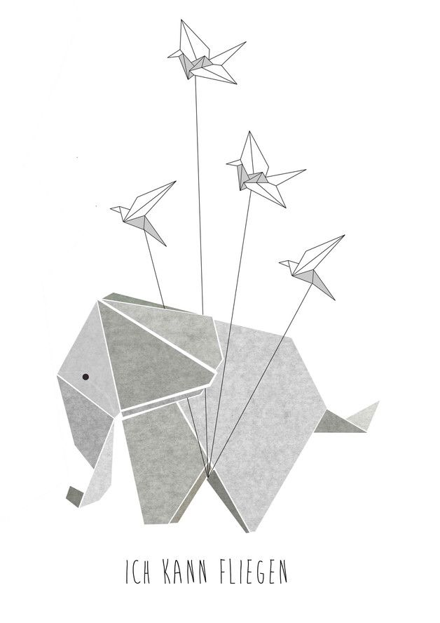 "Digitaldruck ""Ich kann fliegen"" mit niedlichem Elefant / artprint cute elephant ""i can fly"" by Haus-nr-26 via DaWanda.com"