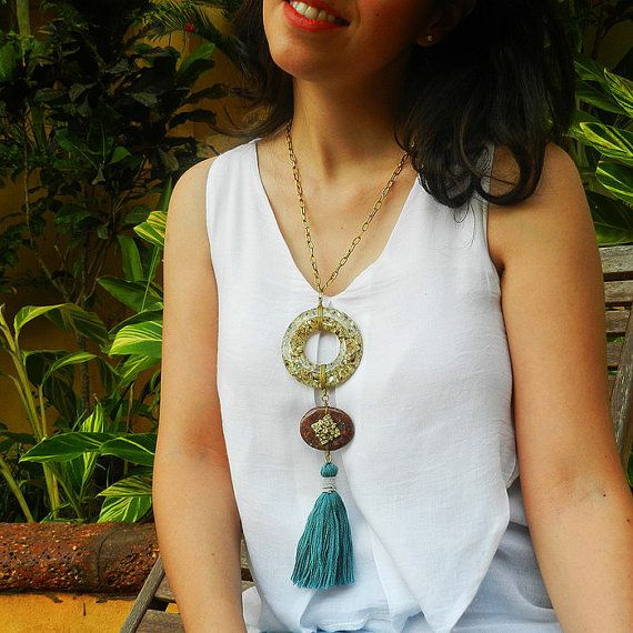Long Chunky Necklace - Statement Necklace - Statement Tassel Necklace - Earthy Colors - Emerald Green and Burgundy - Chunky Tassel Necklace
