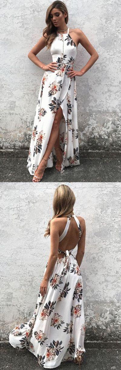 Sleeveless Side Split Back Lace-up Random Floral Print Maxi Dress