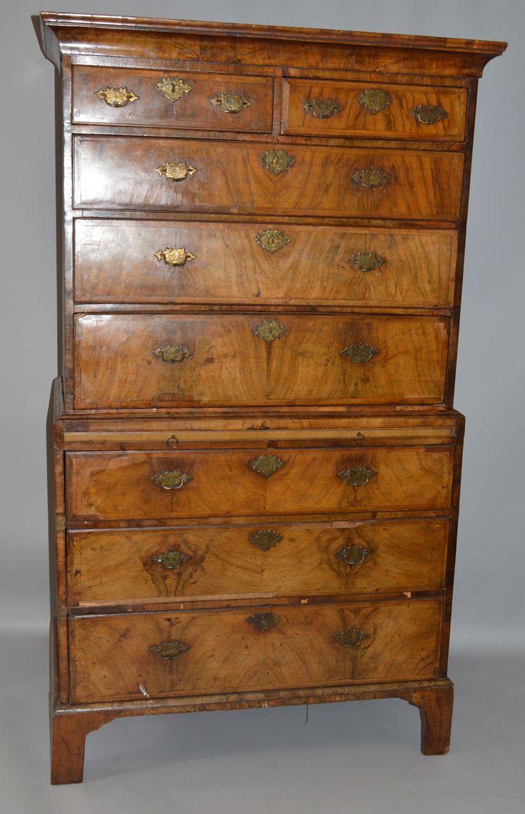 A good George I walnut tallboy. Est. £1,000 – £1,500.
