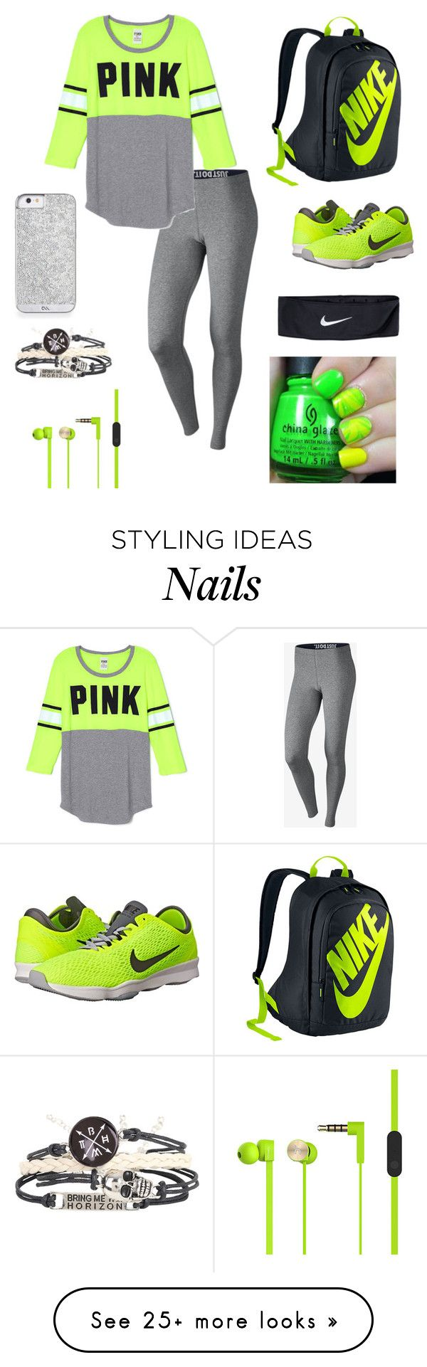 """nikes and pink"" by fashionishaa on Polyvore featuring NIKE, women's clothing, women's fashion, women, female, woman, misses and juniors"