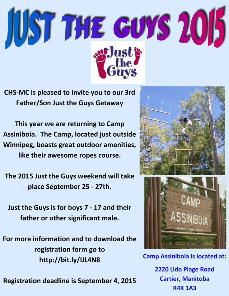 The Manitoba Chapter of the Canadian Hemophilia Society is pleased to invite boys aged 7-17 living with bleeding disorder and their fathers or other significant adult male to the 3rd Just the Guys Getaway Fall Fun September 25-27!  Located just outside of Winnipeg, there is no fee to attend; however, those attending are responsible for their own transportation to and from the retreat.