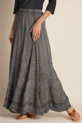 Suzette Skirt - Cotton Skirt, Embroidery, Hand-sewn Beading, Fully Lined  | Soft Surroundings