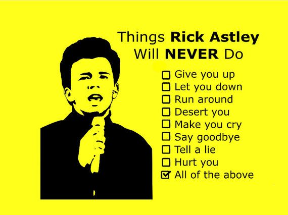 Things Rick Astley will never do T-shirt by ThumpShirts on Etsy