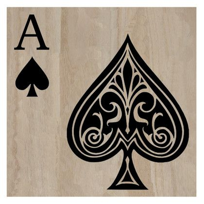 The Reverse Ace of Spade Artwork is handcarved from mangowood. #ace #black ace #playing cards