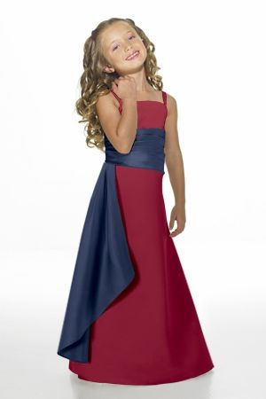 Alexia Designs style 14: Matches bridesmaids style 2614. Strapless matte satin two-tone bridesmaids gown with pleated cummerbund and side drape.