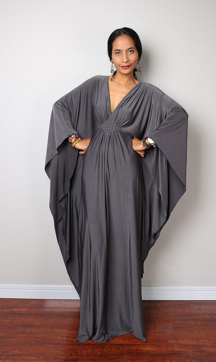 Grey Maxi Dress Kaftan Kimono Butterfly Dress: Funky por Nuichan