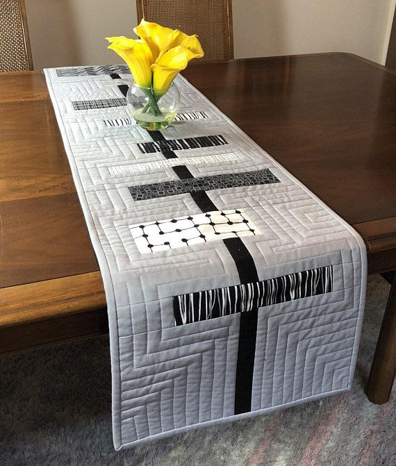Modern Table Runner Black White And Grey Wallhanging Quilted