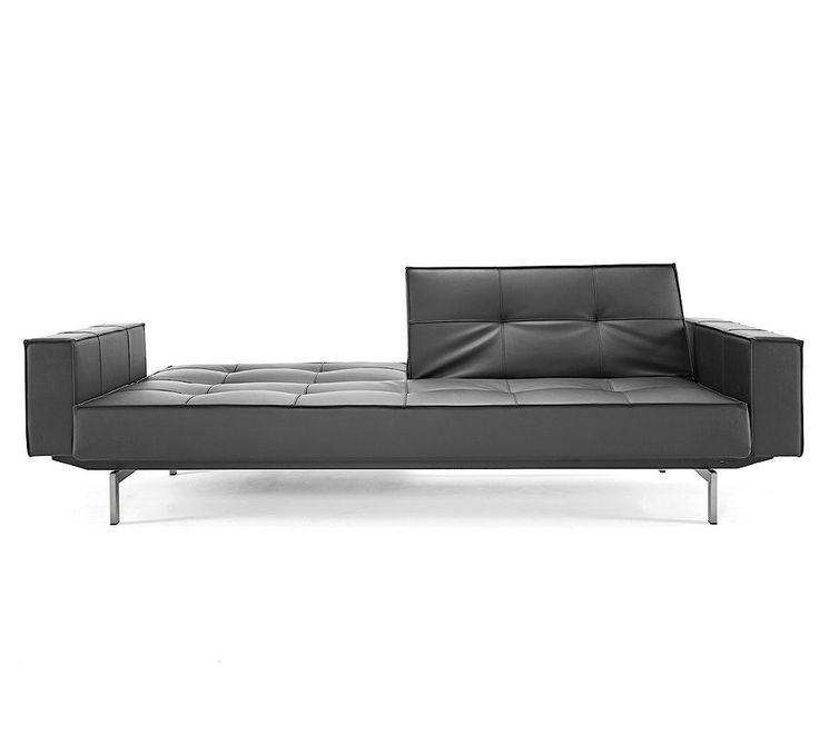 Mid Century Splitback White Leather Convertible Sofa | Zin Home