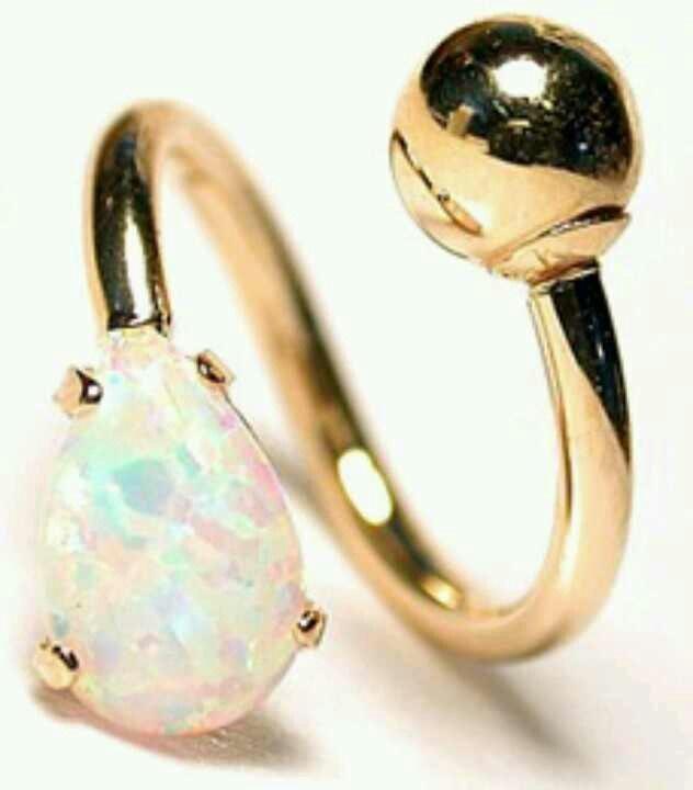 Opal belly ring