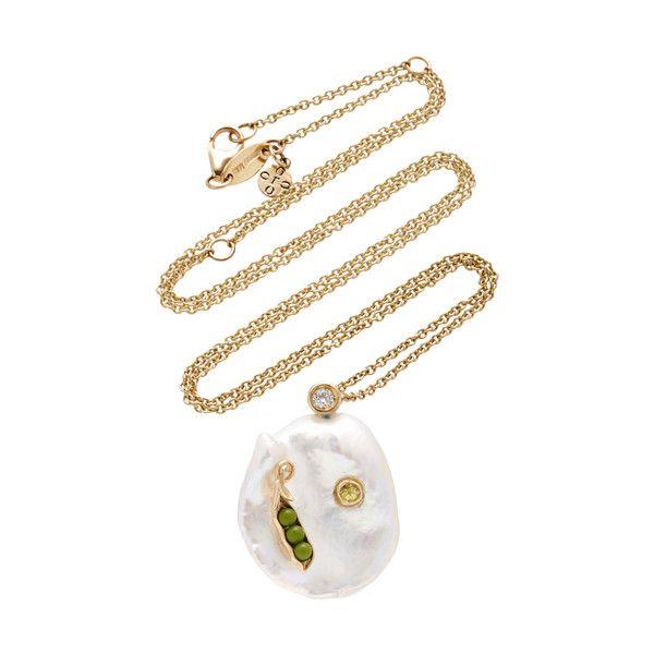 Of Rare Origin Sweet Pea Pendant (13.456.385 IDR) ❤ liked on Polyvore featuring jewelry, pendants, gold, semi precious jewelry, handcrafted jewellery, semi precious jewellery, semi precious stone jewelry and semi precious stone jewellery