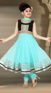 Exclusive aqua georgette readymade kids anarkali suit for wedding function. This suit is crafted with kasab, lace and embroidery work. This dress has sizes available from 18 to 36...