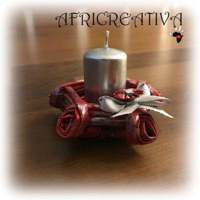 AFRICREATIVA: PORTA CANDELA realizzati con intreccio CANNUCCE DI CARTA e riciclo CIALDE DEL CAFFÈ con TUTORIAL