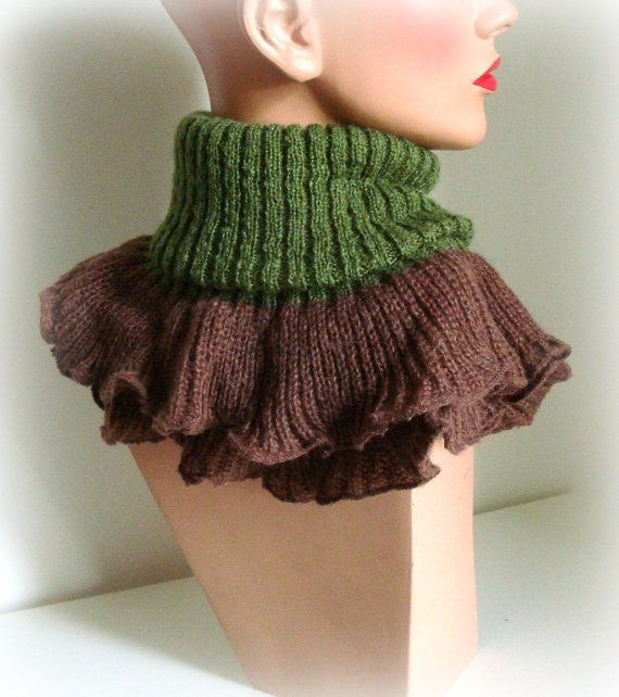 SALE was 35  Autumn Green Brown Women Scarf  Brown by InkaBoutique