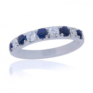 0.85ct Alternating Round Cut Sapphire And Diamond Band In 18K White Gold -IDJ014827