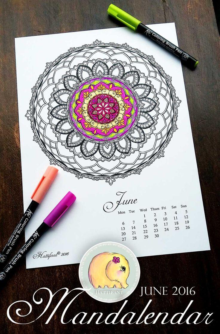 Fr free coloring pages for june - Mandalendar 2016 Hattifant Adult Coloringcoloring Pagesfree Printablescalendar