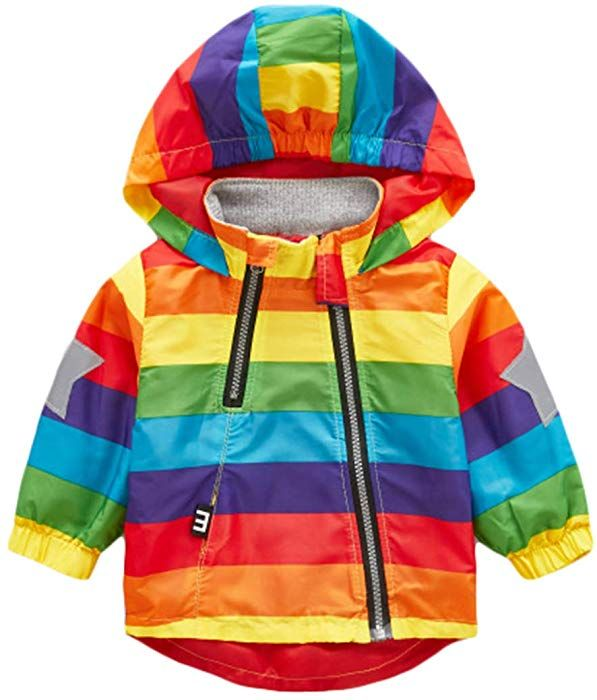 Boy and Girl Reflective Safety Jacket Outerwear Colorful Printed Zipper Hooded Jackets Coat for 1-6T