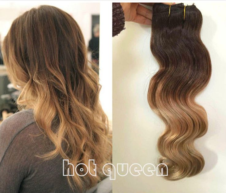 New Remy Ombre Wavy Clip In Human Hair Extensions Blonde Clip-in Hair Extensions #HotQueen #HairExtension
