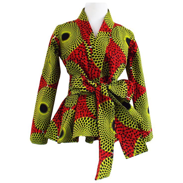 Diola African Print Peplum Blazer (Dark Orange/Green) $54.00  Diyanu.com