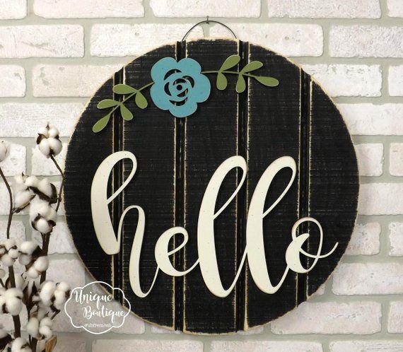 Hello Sign Summer Front Door Sign Hello Door Hanger Round Circle Door Hanger Flower Door Sign W Wooden Door Signs Diy Wood Signs Door Hangers