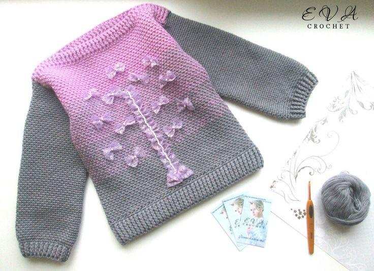 Sweters nena en agujas con moñitos en encaje
