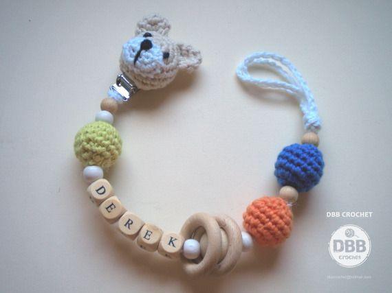 PORTA CHUPETES cabeza osito y nombre, Niños y bebé, Juguetes, Niños y bebé, Chupeteros, Crochet, Amigurumis