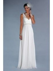 Chiffon Modified V-neck Illusion Bodice Column Wedding Dress