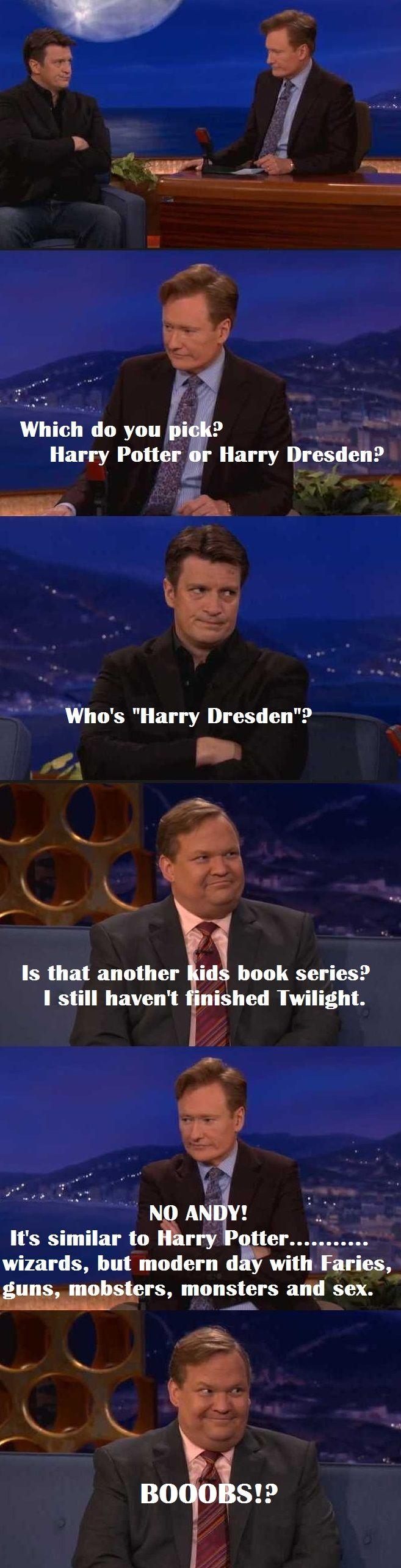 I am actually quite sad that Nathan doesn't know the Dresden Files... :'''(