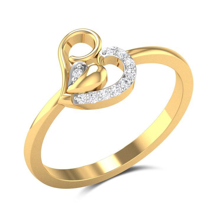 Dallas Diamond Studded Gold Ring