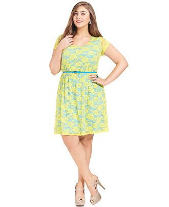 Love Squared Plus Size Dress, Short-Sleeve Lace Belted - Plus Size Dresses - Plus Sizes - Macys