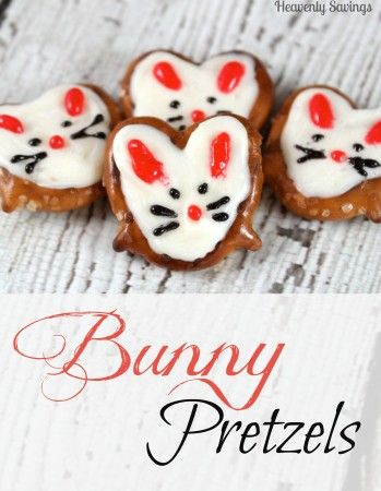 Bunny Pretzels - Fun Snack For The Kids and really easy to make #Easter #snacks #bunnies