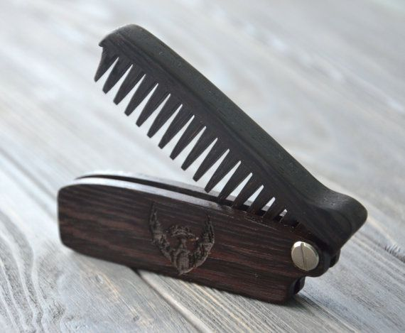New Wooden Beard Hair Folding Comb Wenge Wood Original Gift For Him Dad Husband
