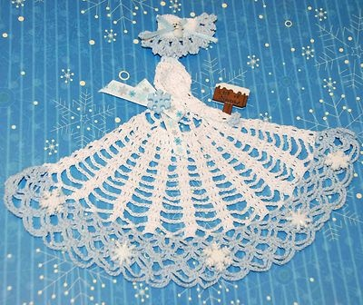 Crinoline Lady Hand Crochet Doily in White w Snowflakes - here's catering to the Frozen enthusiasts' market! LOL!