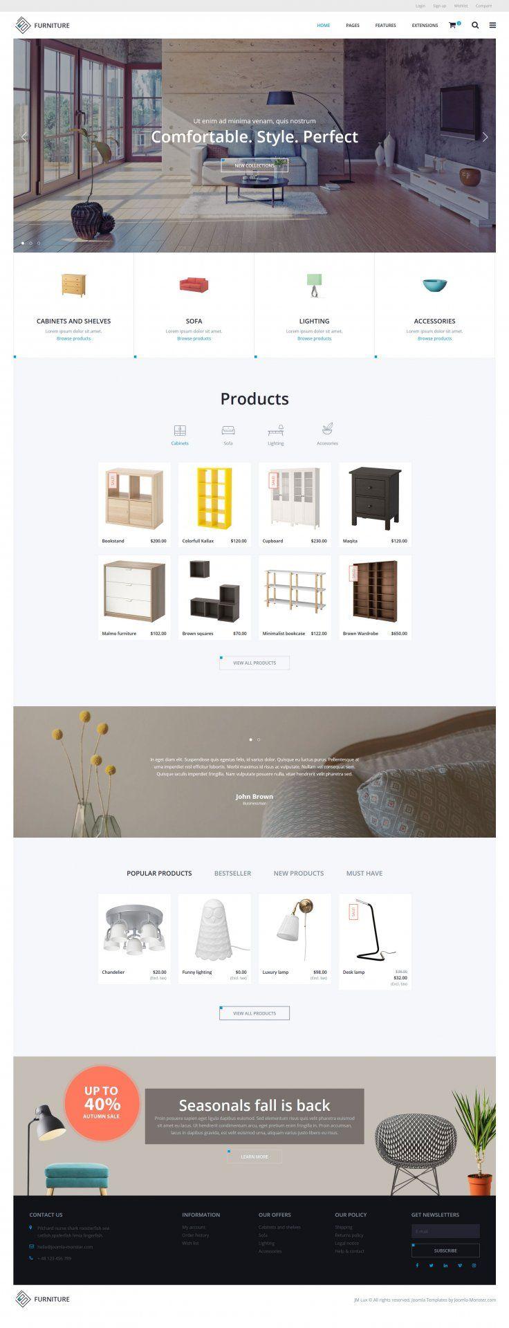 JM Lux - modern Joomla Ecommerce template. Alternative homepage example for furniture online store.  #modern #Joomla #ecommerce #template #furniture #decor #store  https://www.joomla-monster.com/joomla-templates/i/22-ecommerce/244-jm-lux