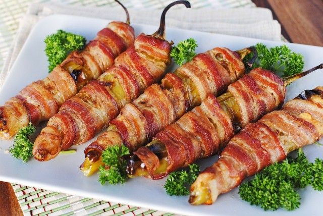 Simple banana pepper appetizer - banana peppers, cream cheese, wrapped in bacon