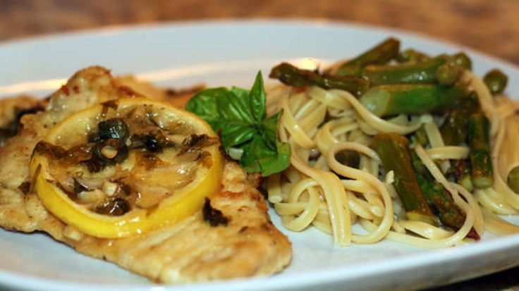 Lighter Side of Italian: Chicken or Fish Piccata and Thin Spaghetti with Asparagus, Green Beans and Peas - RachaelRay.com