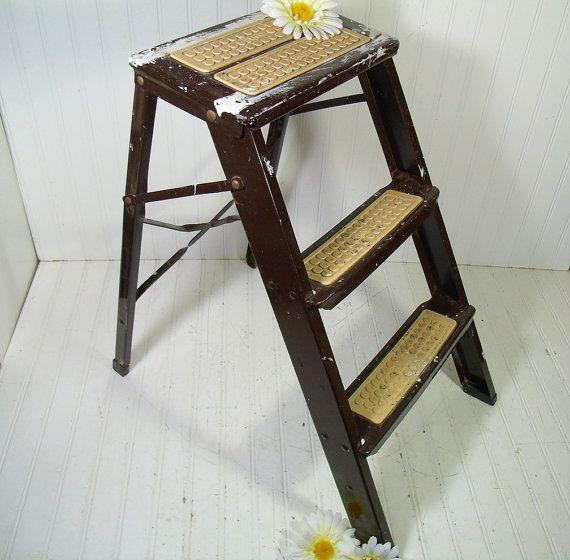 Vintage Dark Brown Enamel Metal Folding StepStool - Drippy Painter Ekco Light Duty Household Ladder - Retro 3 Level Industrial Display Stand $48.00  by DivineOrders