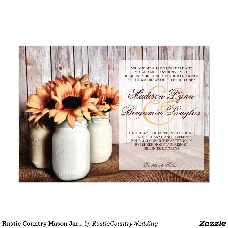 sunflower wedding invitations printable%0A Rustic Country Mason Jar Sunflowers Wedding Invite
