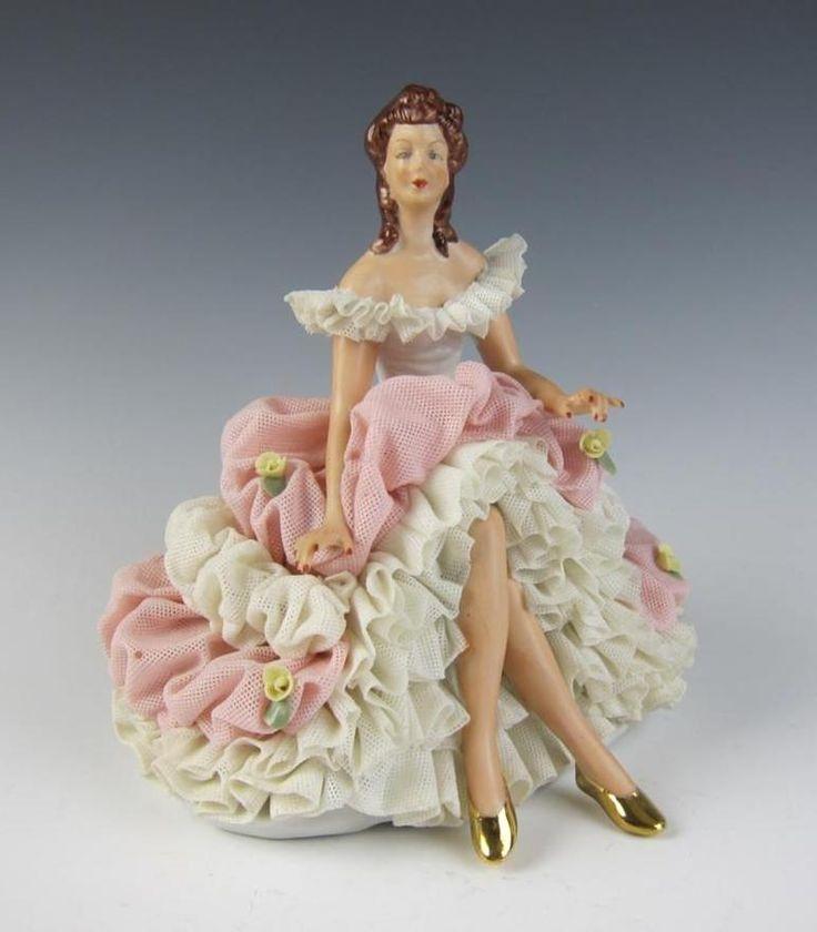 Vintage Dresden Lace Porcelain Figurine Lady Sitting on Bench
