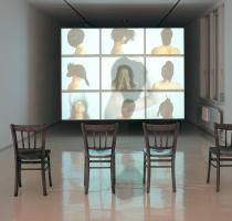 Mwangi Hutter, Neger Don't Call Me (installation view), 2000; DVD, speakers, four wood chairs, Dolby surround sound; National Museum of Women in the Arts, Gift of Heather and Tony Podesta Collection, Washington, D.C.; Image courtesy of the artists