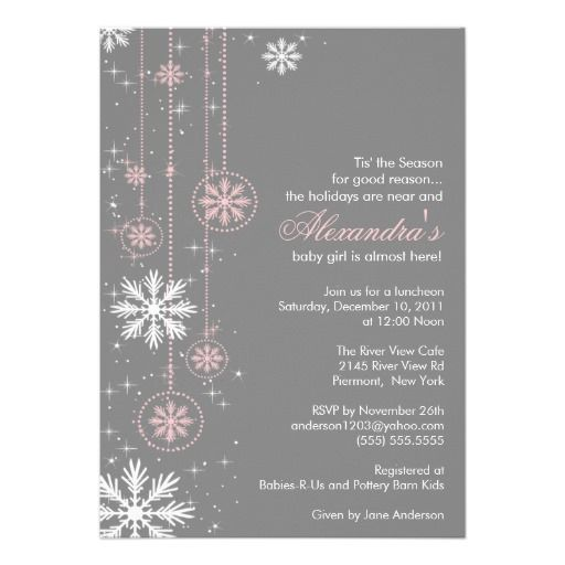 102 best winter baby shower ideas images on pinterest winter baby pink baby shower invitation winter snowflakes filmwisefo