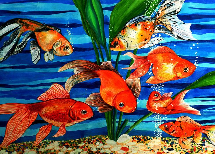 Gold Fishes Painting  - Gold Fishes Fine Art Print