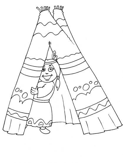 Kleurplaten thema Indianen voor kleuters / Native American theme preschool / thème indien maternelle