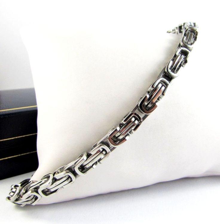 Men Boy Stainless Steel Bracelet Double Chain